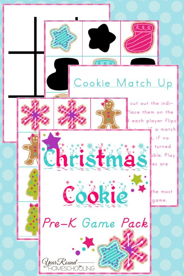 Christmas Cookie PreK Game Pack - By Year Round Homeschooling