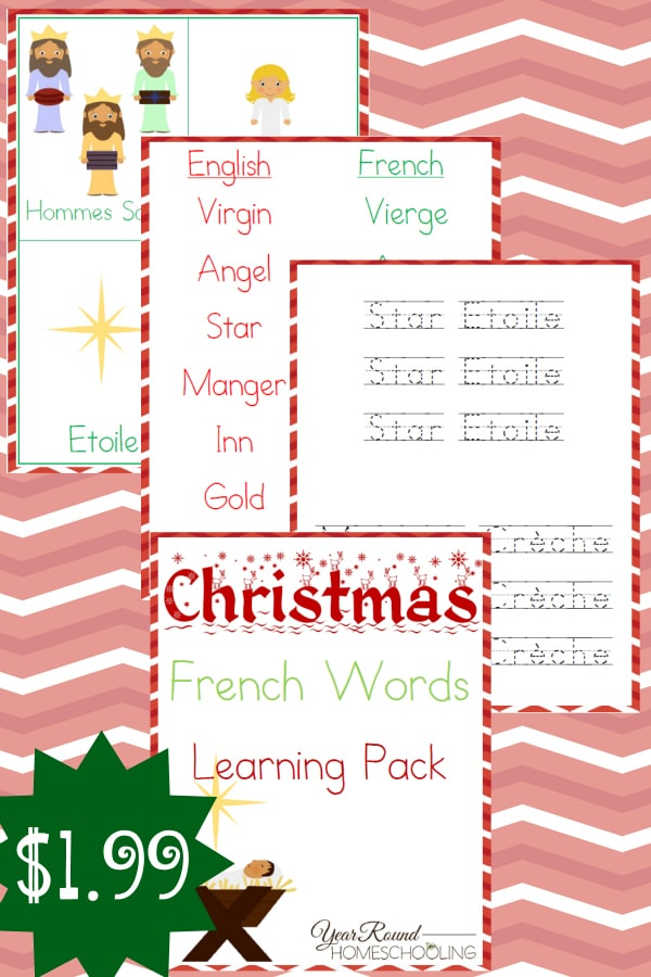 Christmas French Words Learning Pack - By Year Round Homeschooling