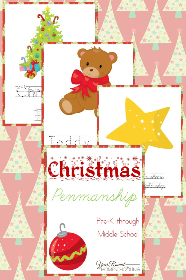 Christmas Penmanship Pack - By Year Round Homeschooling