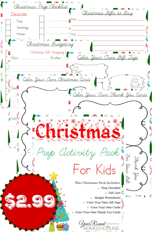 Christmas Prep Activity Pack for Kids - By Year Round Homeschooling