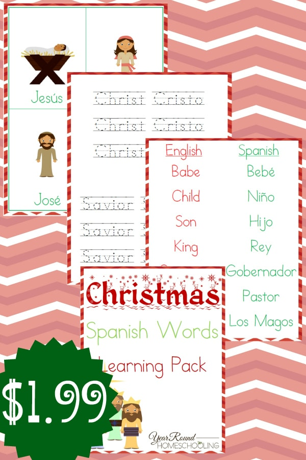 Christmas Spanish Words Learning Pack - By Year Round Homeschooling