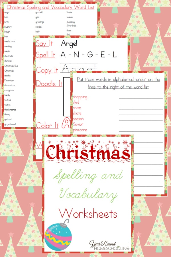 Christmas Spelling and Vocabulary Worksheets - By Year Round Homeschooling