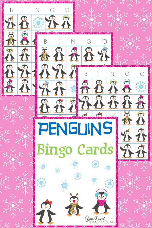 Penguin Bingo Cards - By Year Round Homeschooling