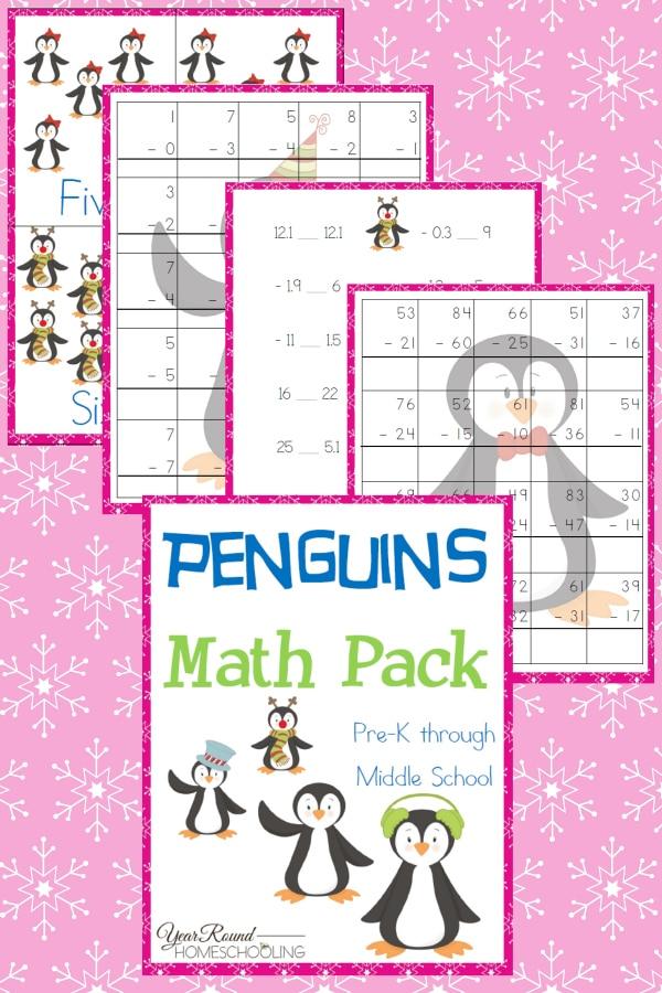 Penguins Math Pack (PreK-Middle School) - Year Round Homeschooling