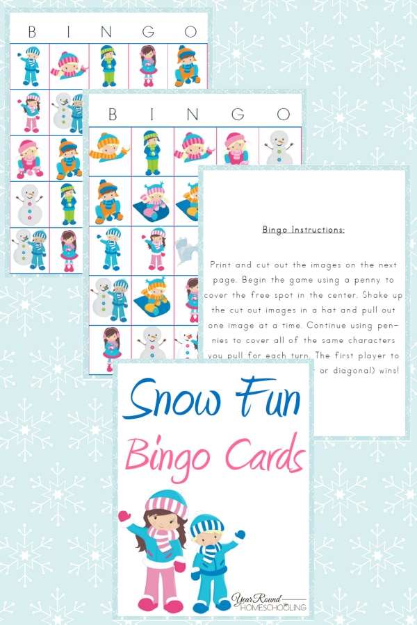 Snow Fun Bingo Cards - By Year Round Homeschooling