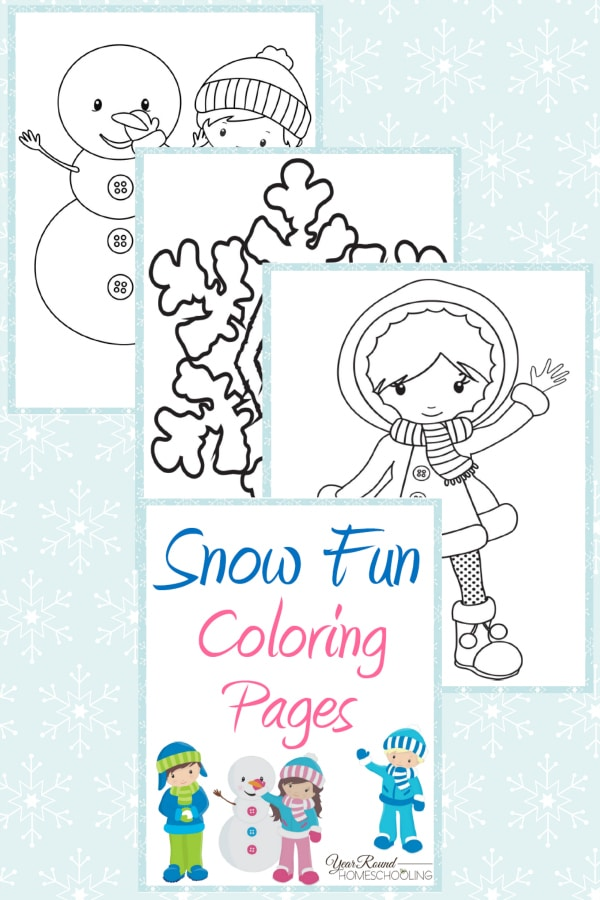 Snow Fun Coloring Pages - By Year Round Homeschooling