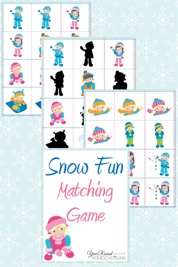 Snow Fun Matching Game Pack - By Year Round Homeschooling