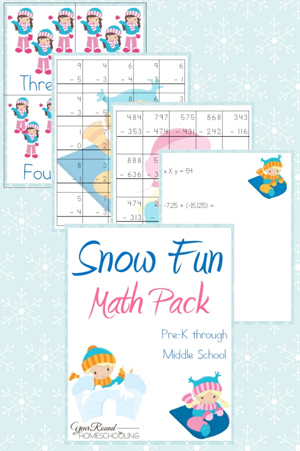 Snow Fun Math Pack - PreK through Middle School - By Year Round Homeschooling
