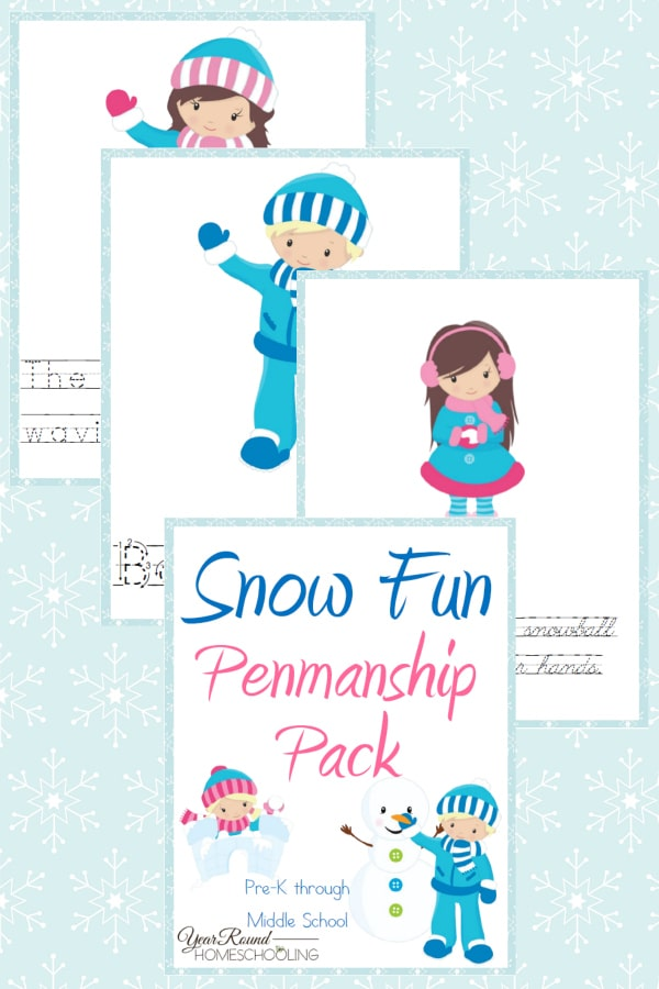 Snow Fun Penmanship Pack - By Year Round Homeschooling