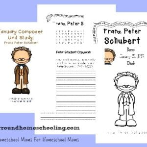 "Study a composer a month with our fun and simple Composer Unit Studies. This month - January - you can study Franz Schubert, the composer of ""Ave Maria."" Includes resources and a free printable pack! :: www.yearroundhomeschooling.com"