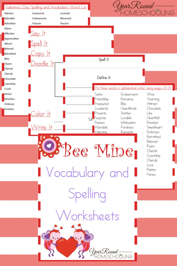 Bee Mine Spelling & Vocabulary Worksheets