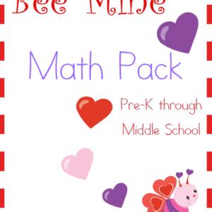 Valentine's Day, math, preschool, elementary school, middle school, homeschool, homeschooling, printable