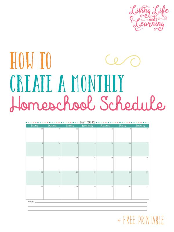 How to Create a Monthly Homeschool Schedule + Free Printable