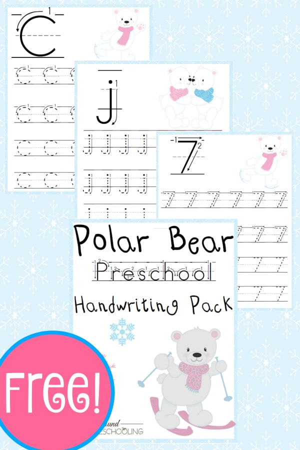 polar bear, pek, preschool, handwriting, writing, printable