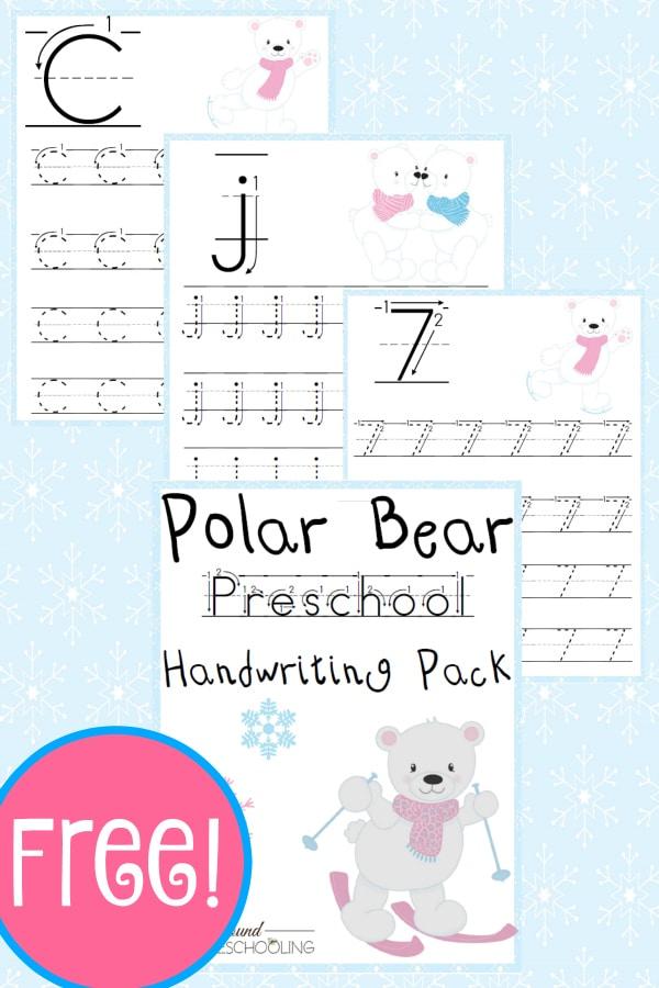 polar bear, pek, preschool, handwriting, writing, printable