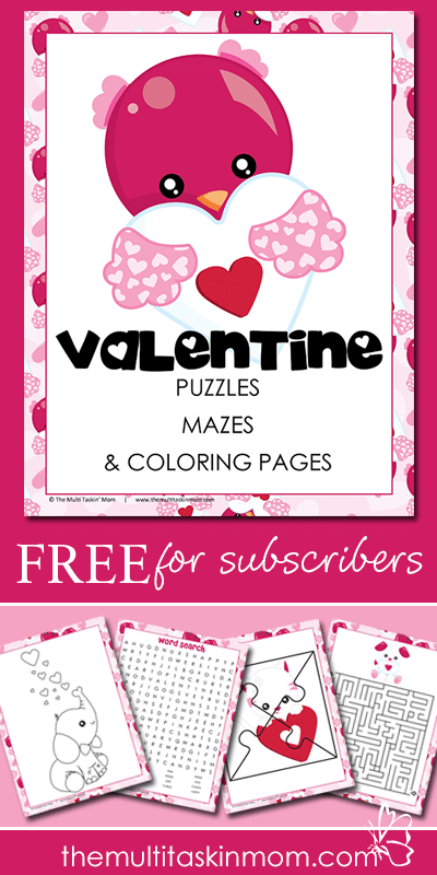 Free Valentine's Day Puzzles, Mazes, Coloring Pages and More Pack