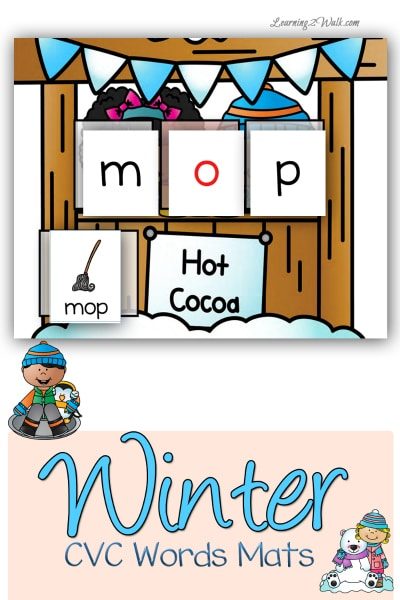 Free Winter CVC Words Worksheets