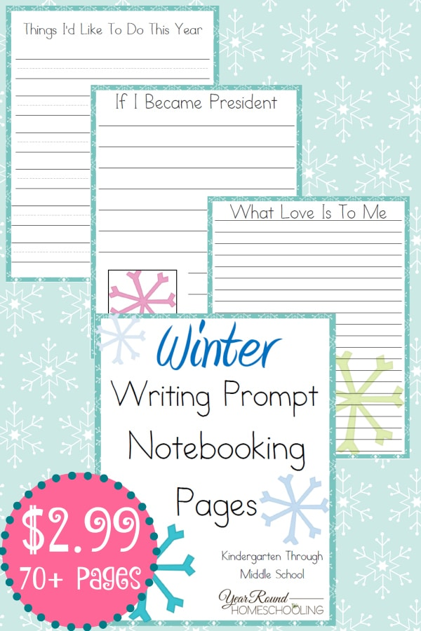 winter, writing, prompt, notebooking, homeschool, homeschooling, printable