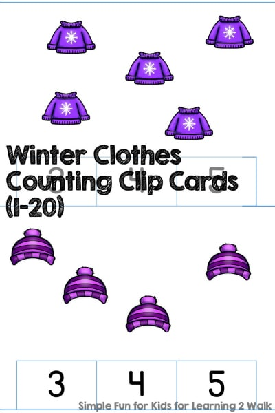 Free Winter Clothes Counting Clip Cards