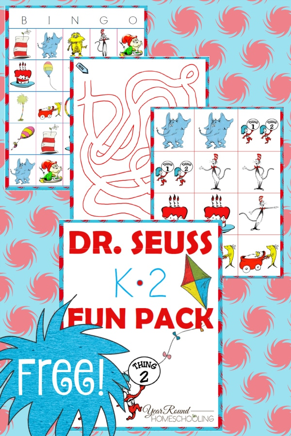 dr. seuss, kindergarten, first grade, second grade, K-2, homeschool, homeschooling, printable
