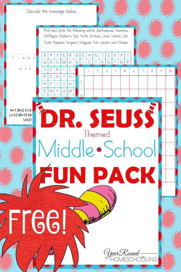 dr. seuss, middle school, 6th grade, 7th grade, 8th grade, word search, decode the message, battleship, printable