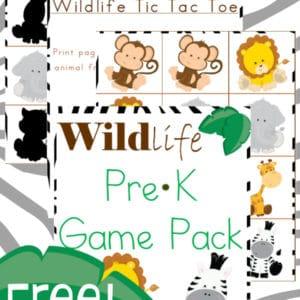 wildlife, prek, preschool, game, tic-tac-toe, matching game, homeschool, homeschooling, printable