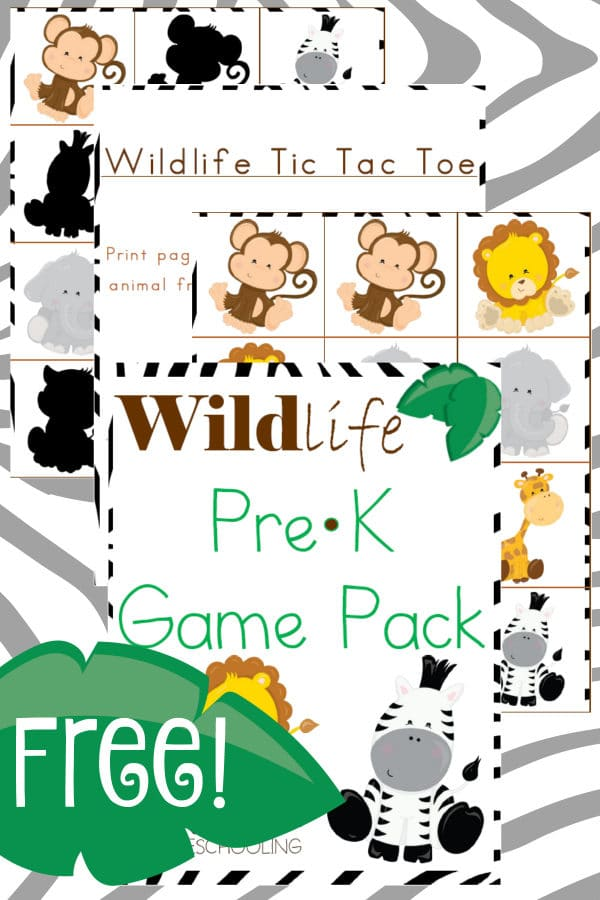 wildlife, prek, preschool, game, tic-tac-toe, matching game, homeschool, homeschooling, printable