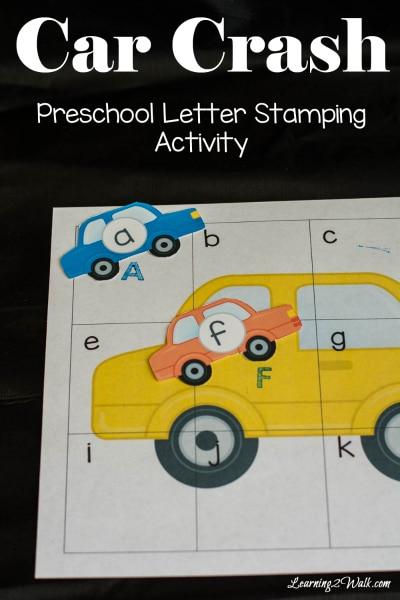 Free Car Crash Preschool Letter Stamping Worksheets