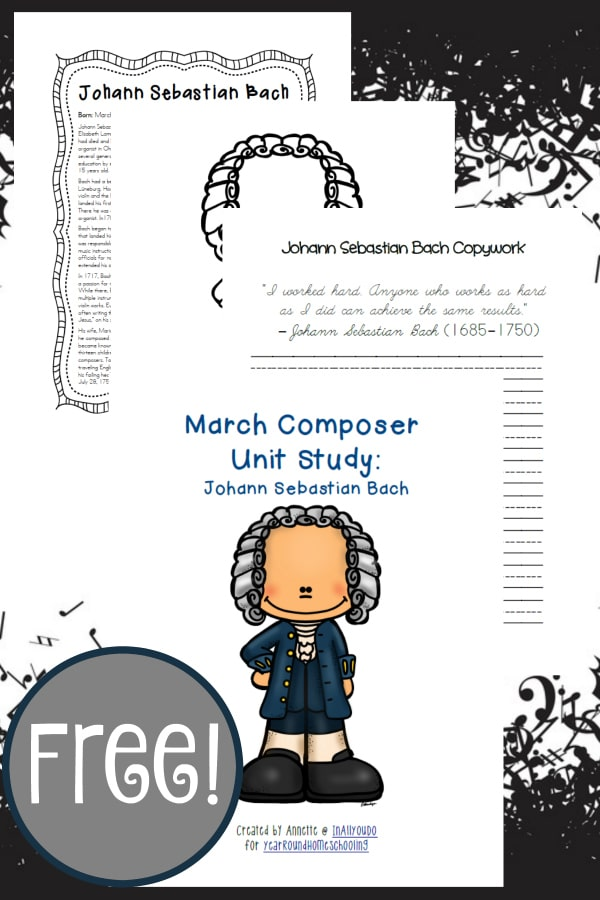 bach, composer, unit study, music, homeschool, homeschooling, printable