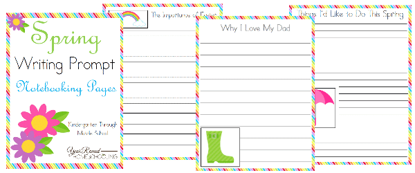 spring, writing prompts, notebooking, homeschool, homeschooling, printable