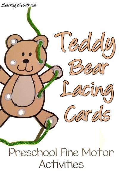 Free Teddy Bear Lacing Cards