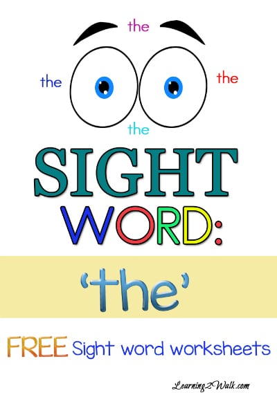 """Free Sight Word Worksheets for """"The"""""""