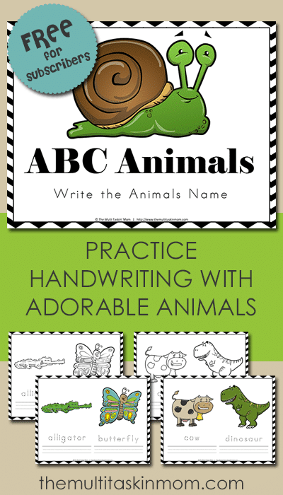 Free ABC Animals Write Their Name Handwriting Practice Printable