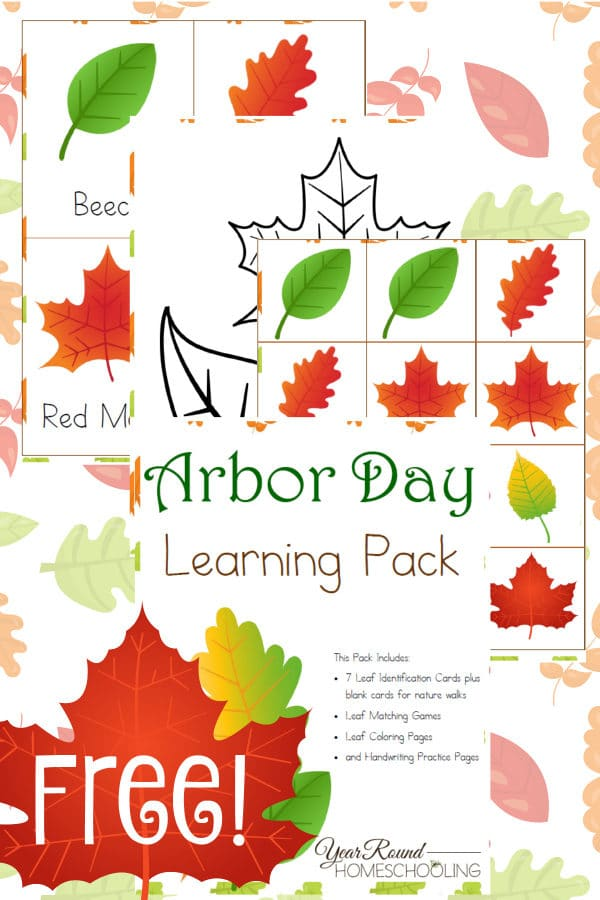 arbor day, leaf identification, trees, leaves, homeschool, homeschooling, printable