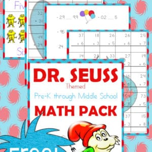 dr. seuss, math, preschool, elementary school, middle school, homeschool, homeschooling, worksheets, printable