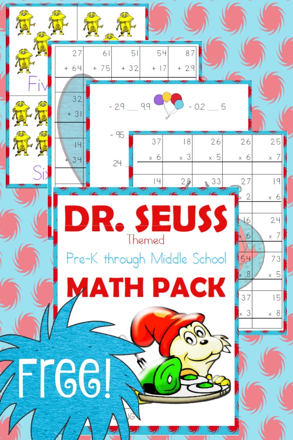Free Dr. Seuss Math Pack (PreK-Middle School) - Year Round Homeschooling