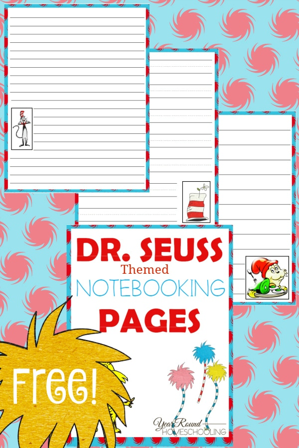 dr. seuss, notebooking, preschool, elementary school, middle school, homeschool, homeschooling, worksheets, printable