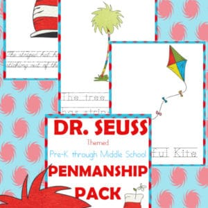 dr. seuss, penmanship, preschool, elementary school, middle school, homeschool, homeschooling, worksheets, printable
