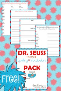 dr. seuss, spelling, vocabulary, preschool, elementary school, middle school, homeschool, homeschooling, worksheets, printable