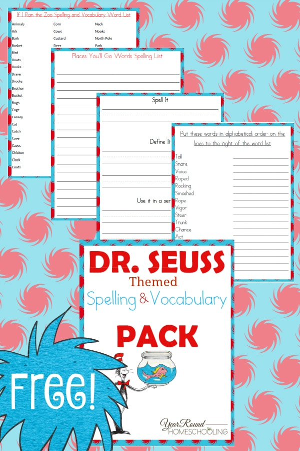 dr. seuss, spelling, vocabulary, preschool, elementary school, middle school, homeschool, homeschooling, worksheets, printable