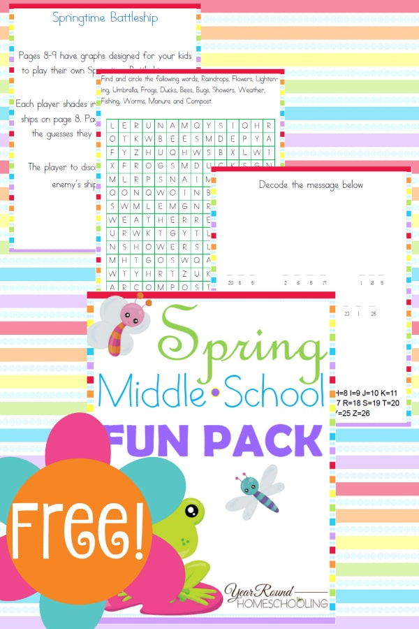 spring, decode the message, word search, battleship, homeschool, homeschooling, middle school, printable