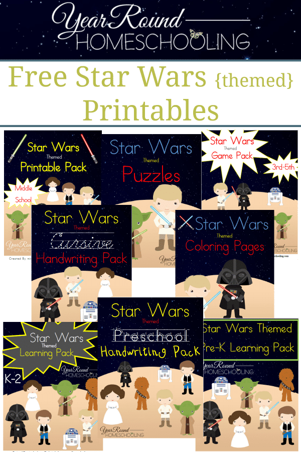 star wars, printables, homeschool, homeschooling, worksheets, prek, preschool, kindergarten, elementary, middle school