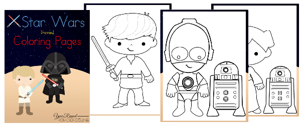 star wars, coloring pages, homeschool, homeschooling, printable