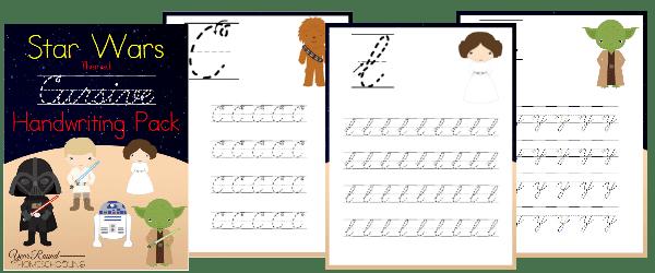star wars, cursive, handwriting, homeschool, homeschooling, printable