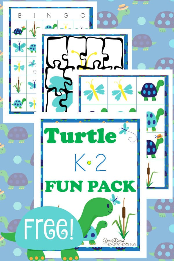 turtle, kindergarten, k-2, puzzles, bingo, matching game, homeschool, homeschooling, printable