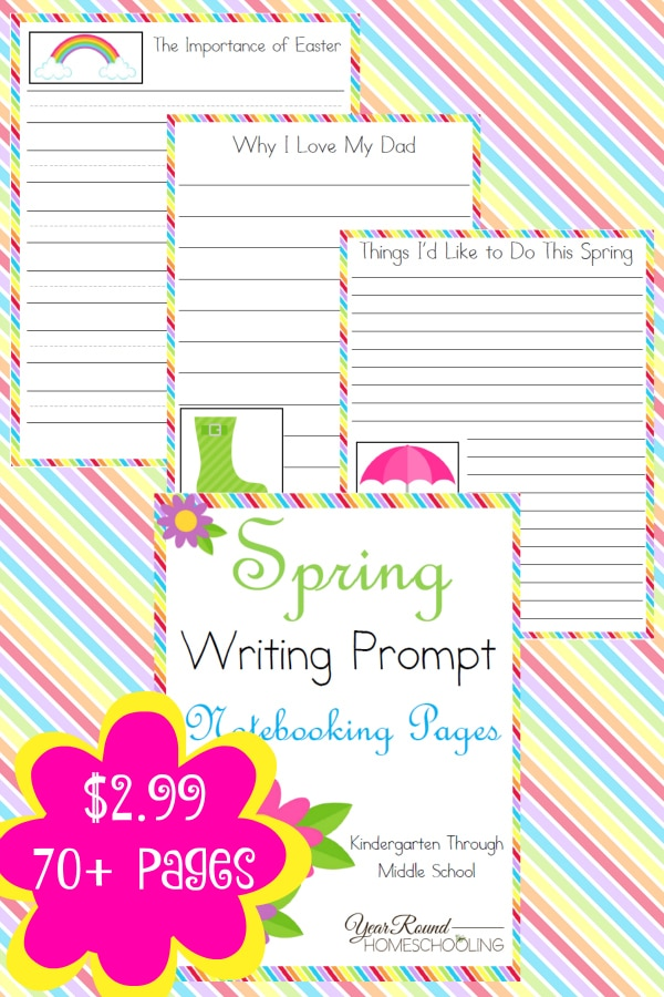 Spring Writing Prompt Notebooking Pages - By Year Round Homeschooling2
