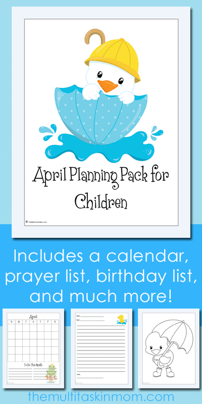 Free April Planning Pack for Kids
