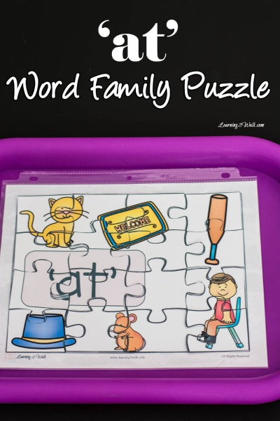 Free 'At' Word Family Puzzle