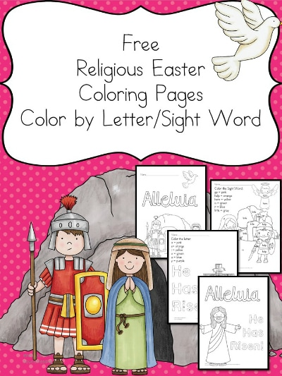 Free Religious Easter Color by Letter and Sight Word Worksheets