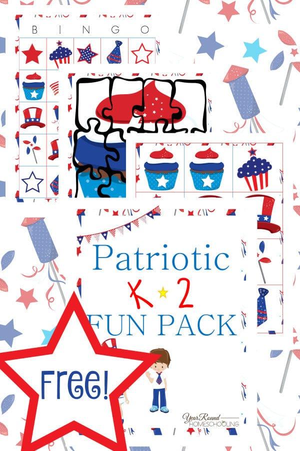 patriotic, K-2, kindergarten, independence day, homeschool, homeschooling, worksheets, printable